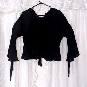 ZARA Black sheer long sleeve blouse